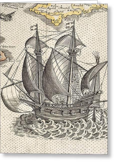English Ship Greeting Card by British Library