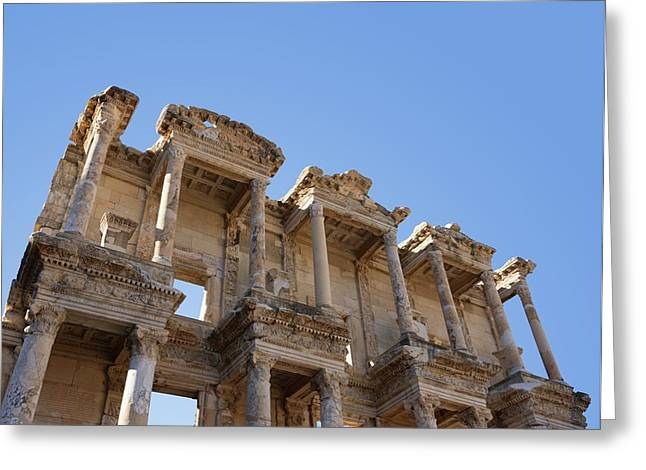 Ephesus Library Greeting Card by David Parker