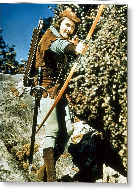 Errol Flynn In The Adventures Of Robin Hood Greeting Card by Silver Screen