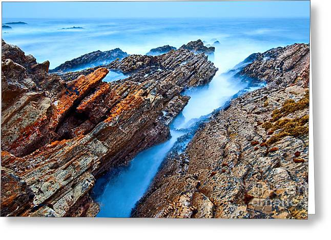 Eternal Tides - The Strange Jagged Rocks And Cliffs Of Montana De Oro State Park In California Greeting Card by Jamie Pham