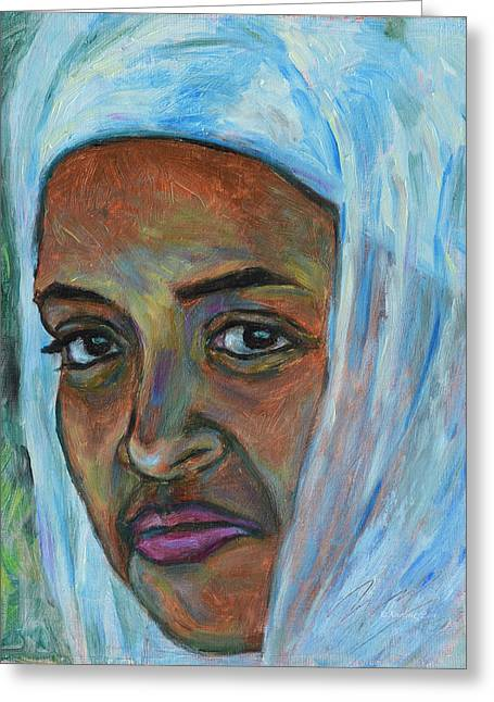 Greeting Card featuring the painting Ethiopian Lady by Xueling Zou