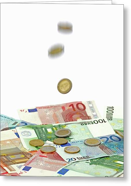 Euro Banknotes And Coins Greeting Card