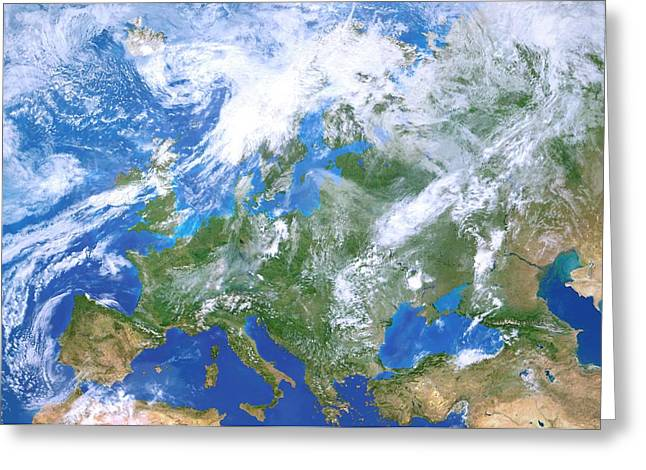 Europe From Space Greeting Card by Detlev Van Ravenswaay