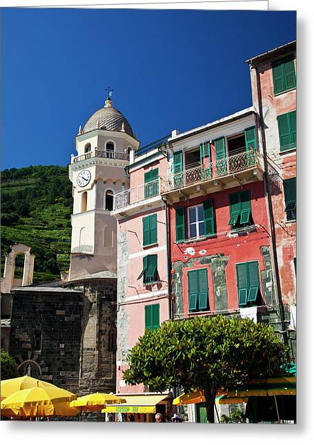 Europe Italy Vernazza City And Church Greeting Card by Terry Eggers