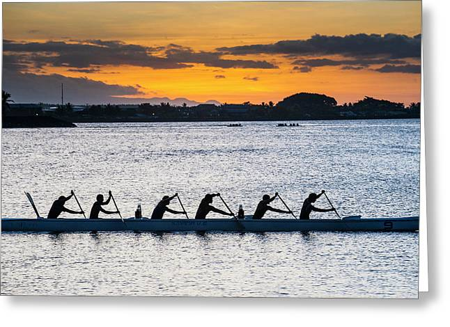 Evening Rowing In The Bay Of Apia Greeting Card by Michael Runkel