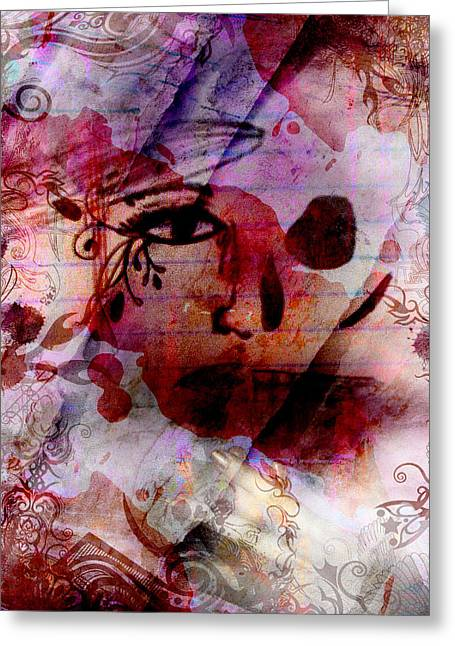 2 Face Greeting Card by Megan Sax