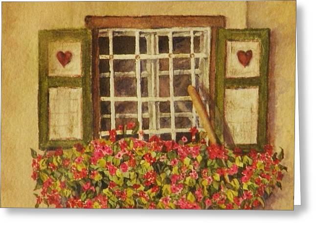 Farm Window Greeting Card by Mary Ellen Mueller Legault