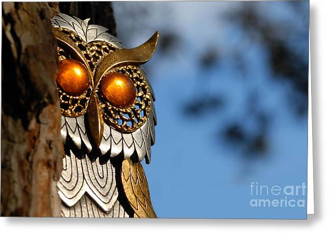 Faux Owl With Golden Eyes Greeting Card