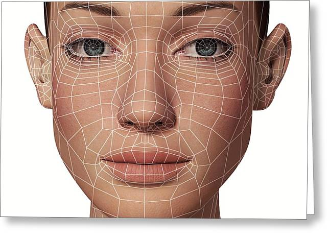Female Head With Biometric Facial Map Greeting Card