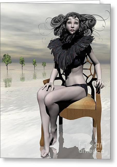 Femme Avec Chaise Greeting Card by Sandra Bauser Digital Art