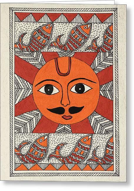 Festive Sun Greeting Card by Neha Dasgupta