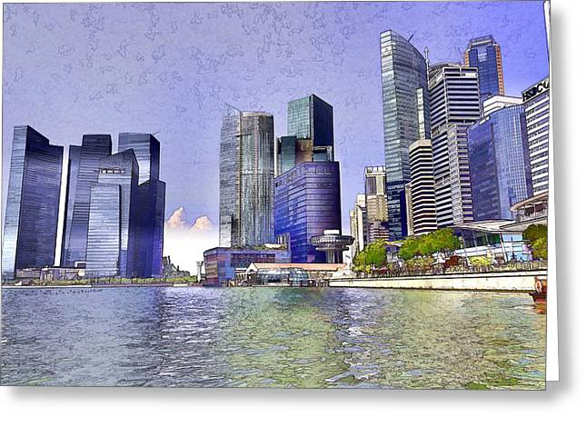 Financial District Of Singapore And View Of The Water Greeting Card