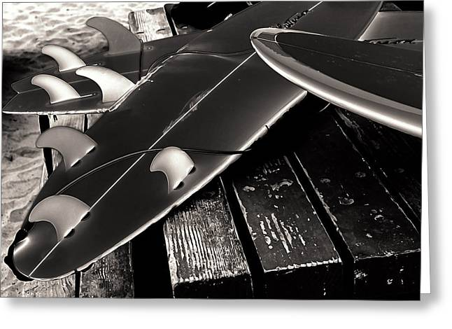 Fins And Boards Greeting Card by Ron Regalado