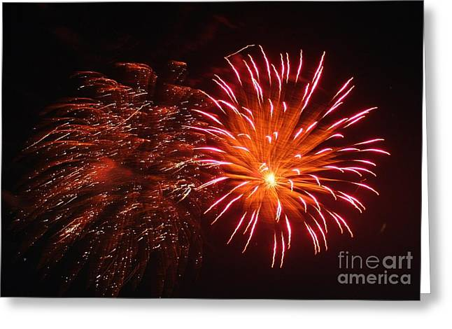 Fire Works On The Fourth Of July  Greeting Card by Larry Stolle