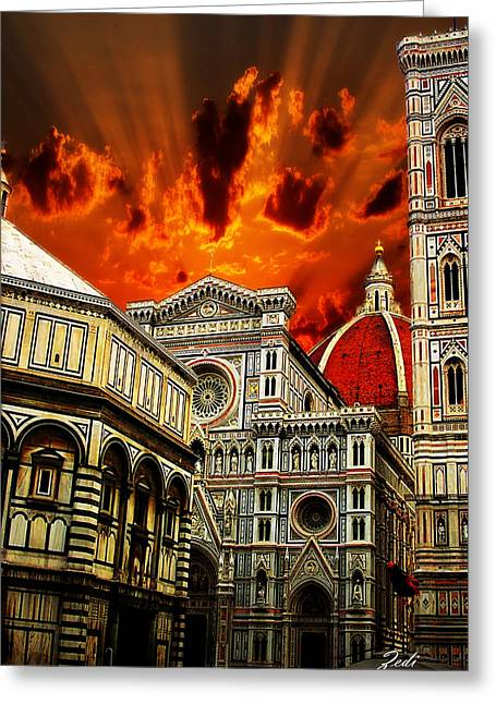 Firenze La Cattedrale Di Santa Maria Del Fiore - Florence The Cathedral Of Santa Maria Del Fiore Greeting Card by Ze  Di