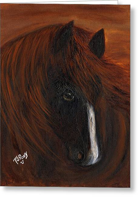 Greeting Card featuring the painting Firestorm by Barbie Batson