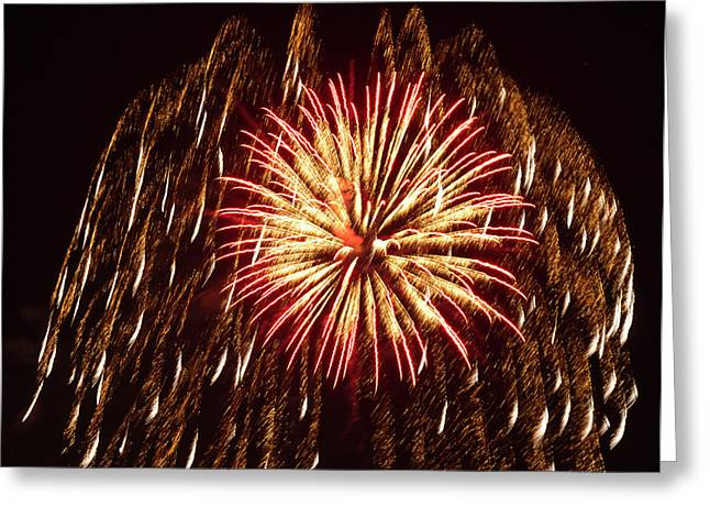 Fireworks At The Albuquerque Hot Air Greeting Card by William Sutton