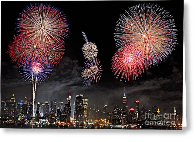 Fireworks Over New York City Greeting Card