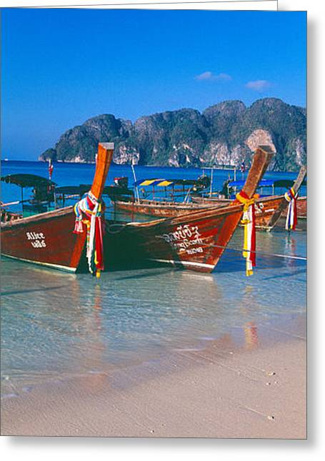 Fishing Boats In The Sea, Phi Phi Greeting Card by Panoramic Images