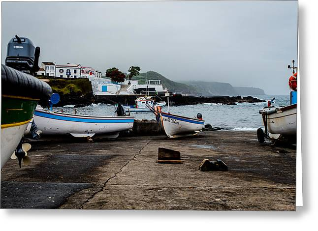 Fishing Boats On Wharf With View Of Houses  Greeting Card