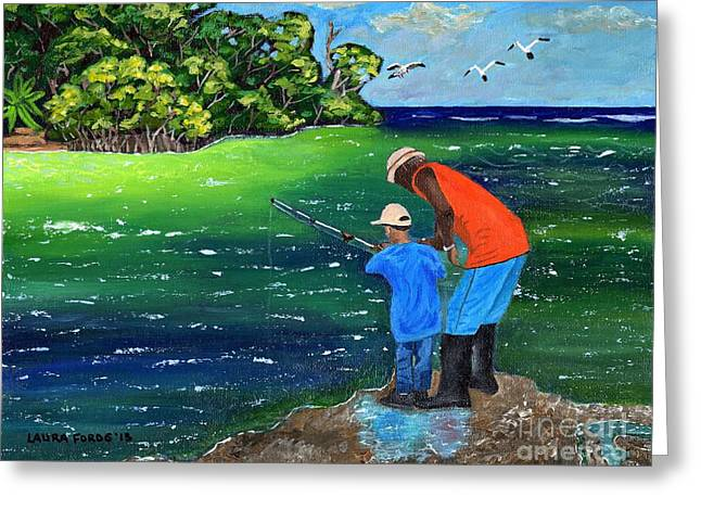 Greeting Card featuring the painting Fishing Buddies by Laura Forde