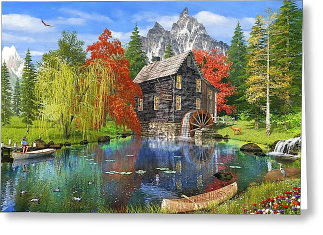 Fishing By The Mill Greeting Card by 2015, Dominic Davison, Licensed by MGL, www.mgllicensing.com