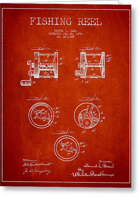 Fishing Reel Patent From 1892 Greeting Card