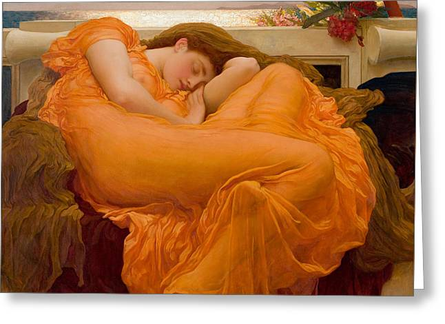 Flaming June Greeting Card by Frederick Leighton