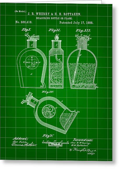 Flask Patent 1888 - Green Greeting Card by Stephen Younts