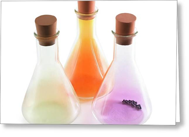 Flasks Containing Halogens Greeting Card by Science Photo Library