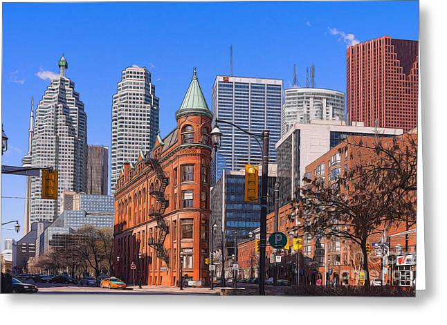 Flatiron Building In Toronto Greeting Card by Les Palenik