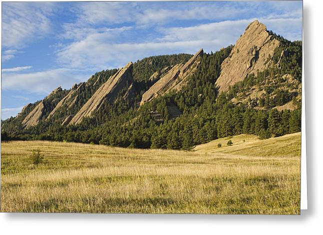 Flatirons With Golden Grass Boulder Colorado Greeting Card
