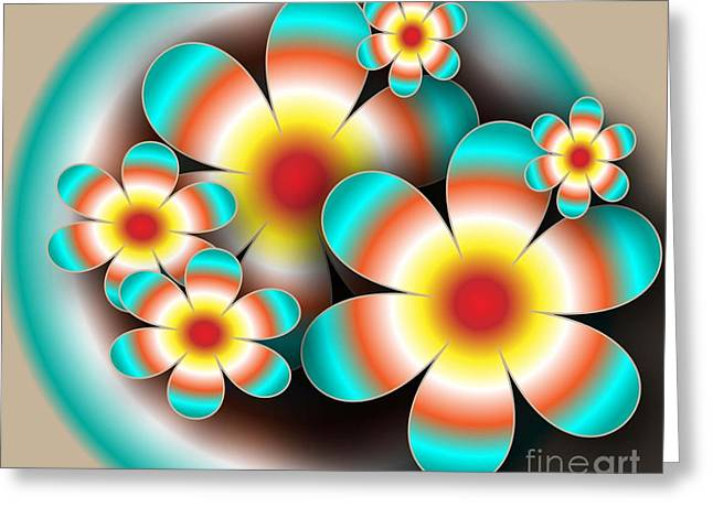 Floral Target Greeting Card by Iris Gelbart
