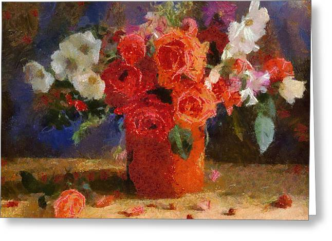 Greeting Card featuring the painting Flowers by Georgi Dimitrov