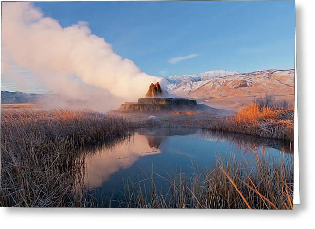 Fly Geyser With Snow Capped Granite Greeting Card
