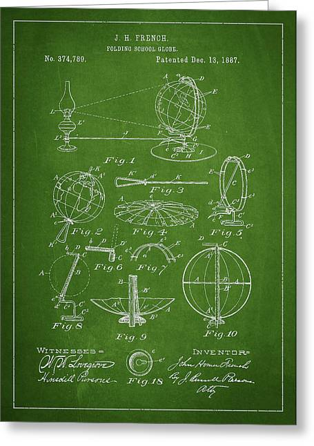 Folding School Globe Patent Drawing From 1887 Greeting Card