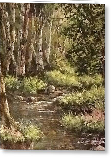 Greeting Card featuring the painting Forest Stream by Megan Walsh