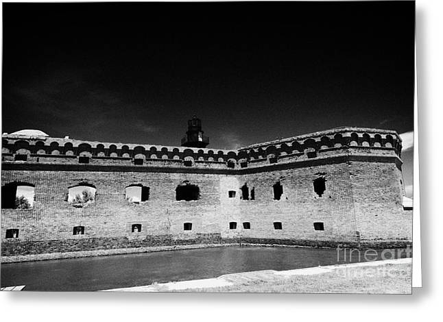 Fort Jefferson Walls With Garden Key Lighthouse Bastion And Moat Dry Tortugas National Park Florida  Greeting Card by Joe Fox