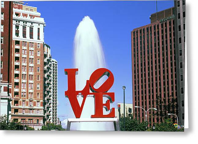Fountain In A Park, Love Park Greeting Card