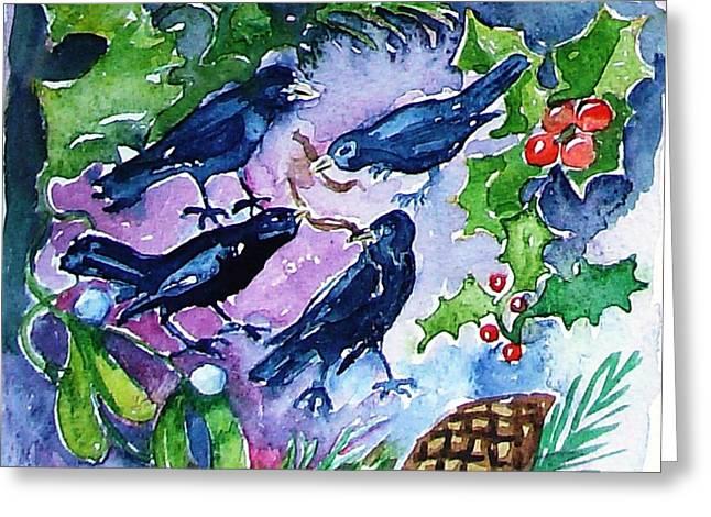 Four Calling  Birds Greeting Card by Trudi Doyle
