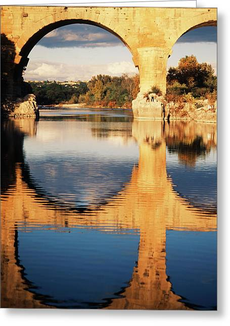 France, Languedoc, Gard, View Of Pont Greeting Card by David Barnes