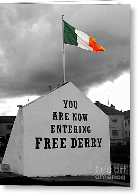 Free Derry Wall Greeting Card by Nina Ficur Feenan