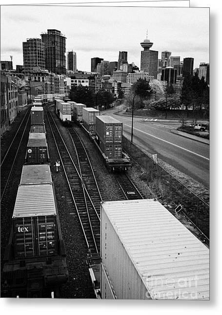 freight train goods tracks Vancouver BC Canada Greeting Card