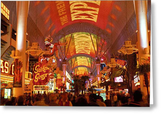 Fremont Street Experience Las Vegas Nv Greeting Card by Panoramic Images