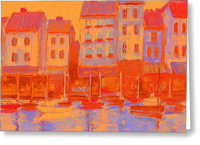 French Harbor Greeting Card by J Reifsnyder
