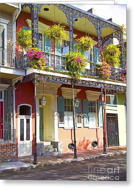 French Quarters Style Bungalow Home With Flower Boxes In New Orl Greeting Card by ELITE IMAGE photography By Chad McDermott