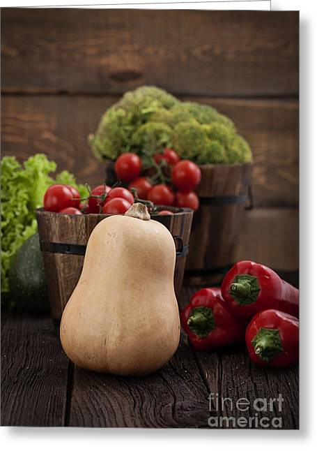 Fresh Organic Vegetables Greeting Card by Mythja  Photography