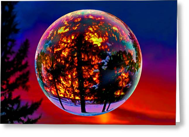 Full Moon Over New Richmond Sunset Greeting Card