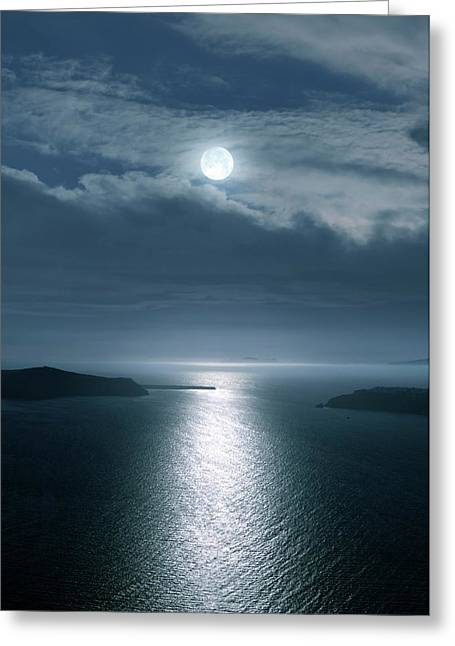 Full Moon Over The Sea Greeting Card by Detlev Van Ravenswaay