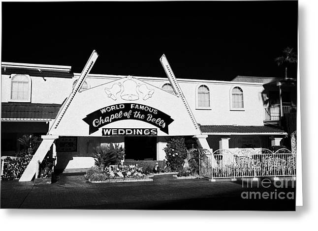 fun city motel and chapel of the bells wedding chapel on the strip Las Vegas Nevada USA Greeting Card by Joe Fox